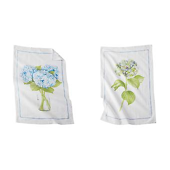 Mud Pie Hydrangea Blooms Flour Sack Kitchen Dish Towels Set of 2