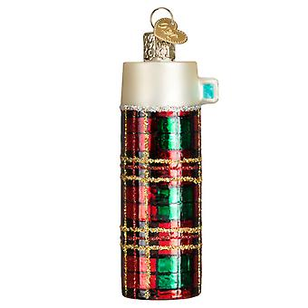 Red Plaid Thermos Retro Look Christmas Holiday Ornament Glass