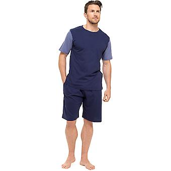 Mens Tom Franks Jersey Cotton Two Tone Short Sleeve Top And Shorts Lounge Wear