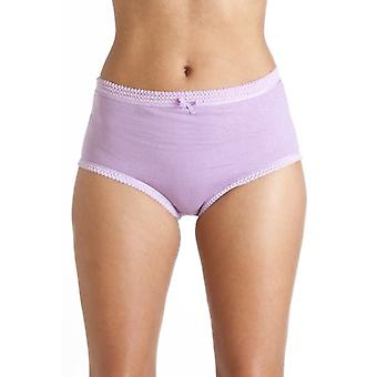 Camille Camille Womens Ladies 3 Pairs 100% Cotton Purple Mix Full Comfort Briefs