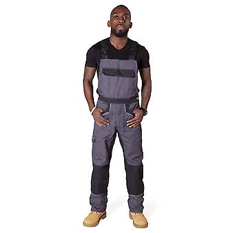 Dickies Bib and Brace Dungarees - Grey/Black Mens Work Overalls Work Dungarees