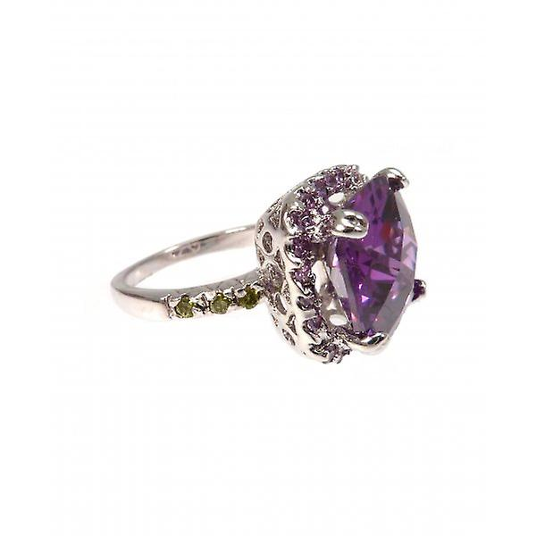 W.A.T Sparkling CZ Purple Square Dress Ring