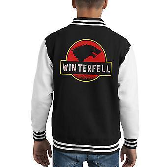 Stark Winterfell Jurassic Park Game Of Thrones Kid's Varsity Jacket