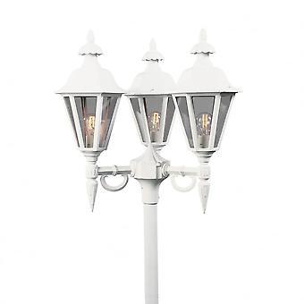 KONSTSMIDE Pallas bianco vialetto 3 lanterna palo della luce esterna