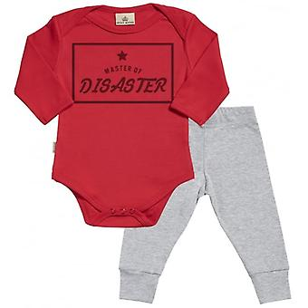 Spoilt Rotten Master Of Diaster Babygrow & Jersey Trousers Outfit Set