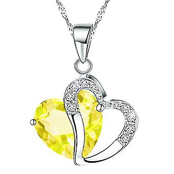 Boolavard® TM mode Osterreic tjeckiska kristall hjärta form hänge halsband + presentbox gul...