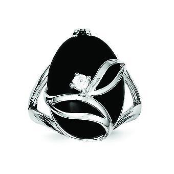 Sterling Zilver gepolijst Open terug Rhodium-plated gesimuleerd Onyx en Cubic Zirkonia Ring - Ringmaat: 6 tot en met 8
