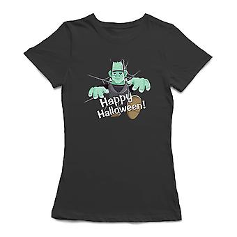 Fröhliches Halloween! Frank Monster Frauen Schwarzes T-shirt