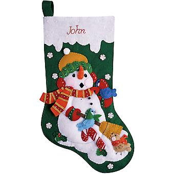Snowman With Birds Stocking Felt Applique Kit 16