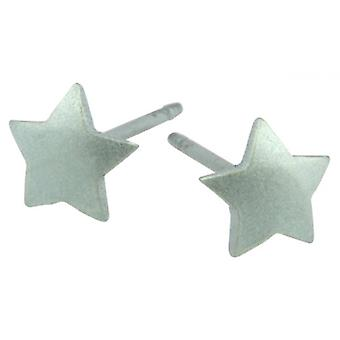 Ti2 Titanium Geometric Star Stud Earrings - Aqua Blue