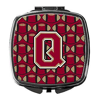 Letter Q Football Garnet and Gold Compact Mirror
