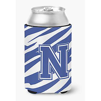 Letter N Initial Monogram - Tiger Stripe Blue and White Can Beverage Insulator H