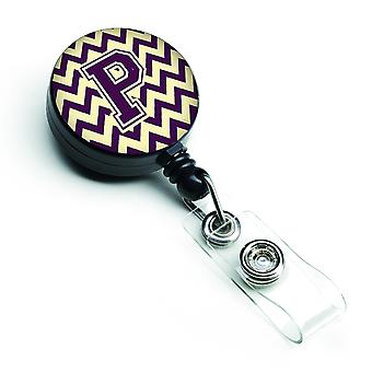 Letter P Chevron Purple and Gold Retractable Badge Reel