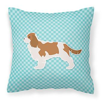 Cavalier King Charles Spaniel Checkerboard Blue Fabric Decorative Pillow