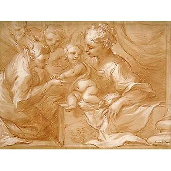 Mystic Marriage of Saint Catherine Poster Print by Bartolomeo Biscaino