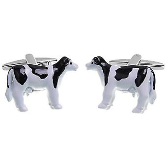 Zennor Cow Cufflinks - White/Black/Silver