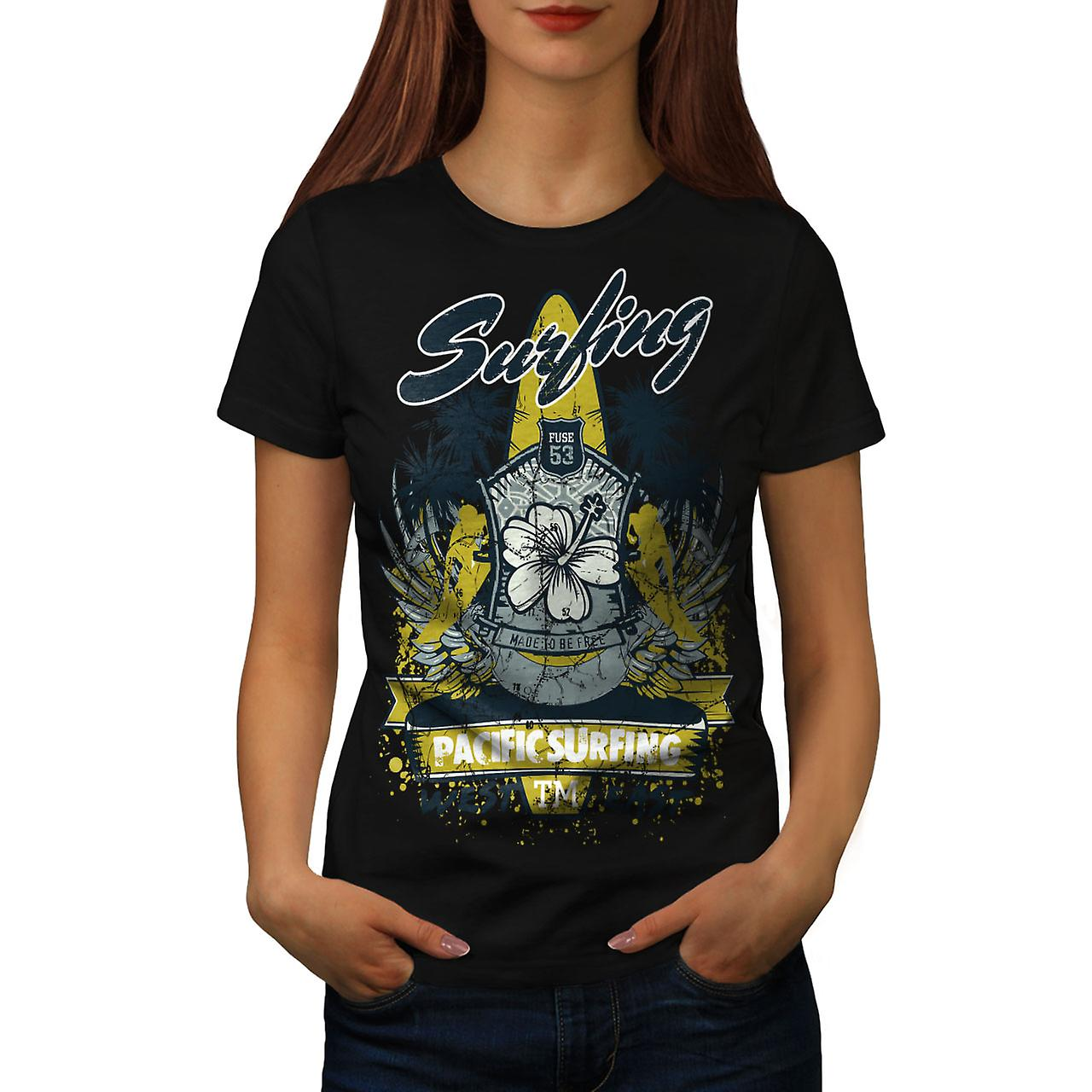 Pacific Surfing Holiday Women Black T-shirt | Wellcoda