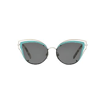 Valentino Metal Wire Cateye Sunglasses In Silver Blue Grey