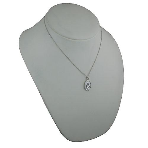 Silver 21x15mm oval St Ann Pendant with a curb Chain 18 inches