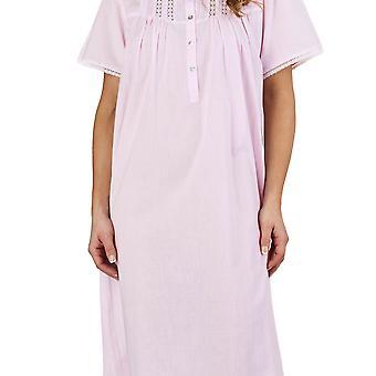 Slenderella ND1271 Women's Lace and Pintucks Pink 100% Cotton Night Gown Loungewear Short Sleeved Nightdress