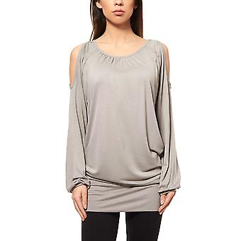 beachtime shirt ladies sweater grey with open shoulders
