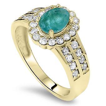 1 3 / 8ct Smaragd & Diamant Ring 14K Gelbgold