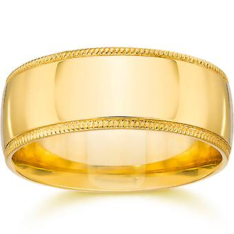 9mm Wide Milgrain Wedding Band 14K Yellow Gold