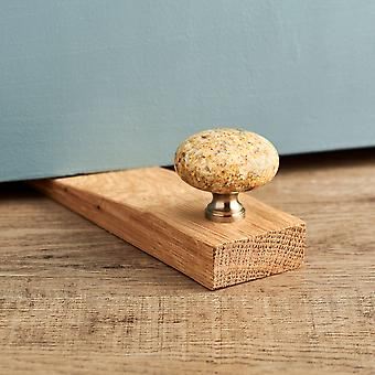Kashmir Gold Granite Stone Oak Wedge Door Stop