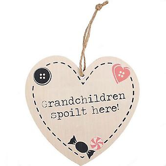 Something Different Grandchildren Spoilt Here Hanging Heart Sign