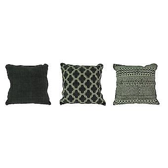 Charcoal Gray Square Cotton Dhurrie 20-Zoll-Kissen 3er-Set
