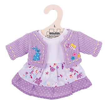 Bigjigs Toys Lilac Dress & Cardigan (38cm) Clothing Outfit Doll Dress Up