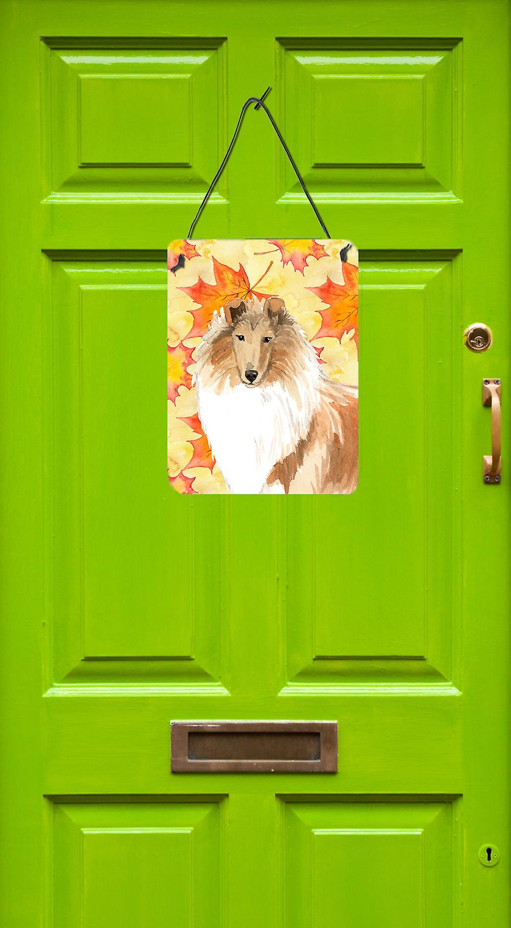 Herbst Blätter Rough Collie Wand oder Tür hängen Drucke