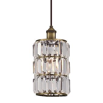Pendant Sophie Antique Brass with 1 Light Crystal Prism Glass