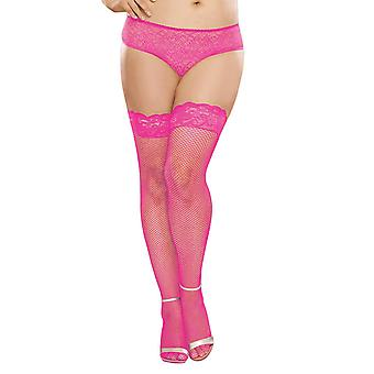Plus Size Neon Hosiery Stay Up Back Seam Fishnet Thigh High
