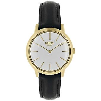 Henry London Iconic Womens White Dial Black Leather Strap HL34-S-0214 Watch