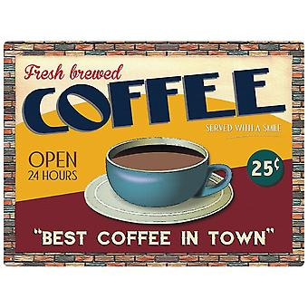 Fresh Brewed Coffee Large Metal Sign 400Mm X 300Mm
