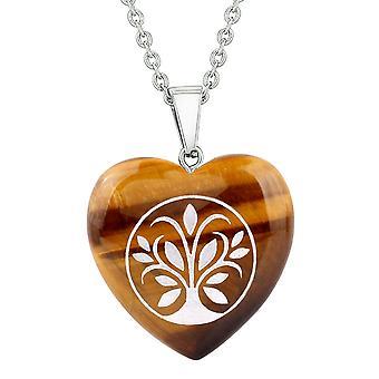 Amulet Tree of Life magiske kræfter beskyttelse energi Tiger øje oppustede hjerte vedhæng 18 tommer halskæde