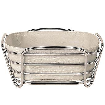 Blomus bread basket small DELARA chromed steel wire with cotton insert Moonbeam
