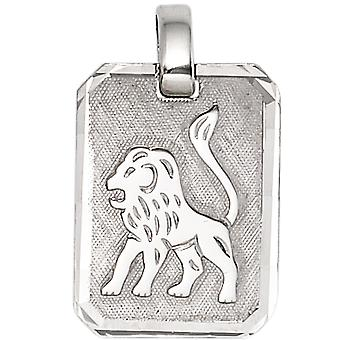 Trailer Zodiac lion 925 sterling silver rhodium plated partly frosted