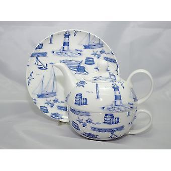 English Bone China Tea for One Sailing Away