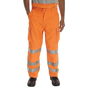 B-Seen Rail Spec Hi Vis Trousers With Kneepad Pockets & Teflon Coating - Rst