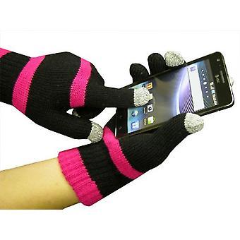 Boss Tech Knit Touchscreen Gloves, Texting Gloves, Tech Gloves (Black/Pink)