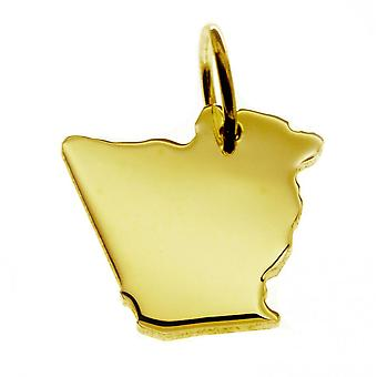 Trailer map pendants in gold yellow-gold in the form of Algeria