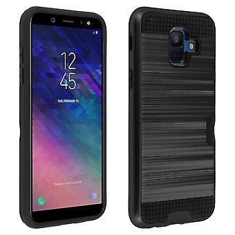 Defensor bi-material Case + suporte de cartão para Samsung Galaxy A6 - preto
