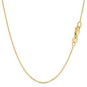 18K gul guld kabellänk kedja halsband, 0.7 mm