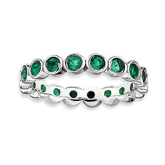 Sterling zilveren omlijsting gepolijst gedessineerde Rhodium-plated stapelbare expressies gemaakt Emerald Ring - Ringmaat: 5 tot 10