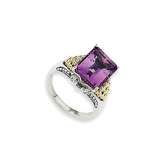 Sterlingsilber antik finish mit 14k 4.00Amethyst Ring - Ring-Größe: 6 bis 8
