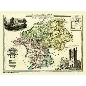 Oude kaart van Westmorland 1836 door Thomas Moule 1000 stuk Jigsaw Puzzle (jhg)