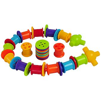 Bigjigs Toys Educational Button and Bobbins Lacing-Rolling Set Count Thread