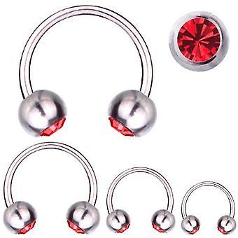 Cirkulär Barbell hästsko Piercing Titanium 1,6 mm, SWAROVSKI element röd